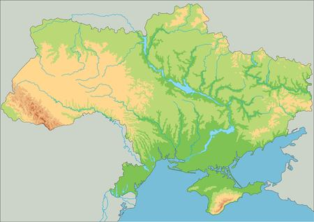 High detailed Ukraine physical map