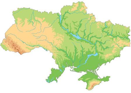 Hochdetaillierte physische Karte der Ukraine