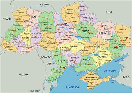 Ukraine - Carte politique modifiable très détaillée avec étiquetage. Vecteurs