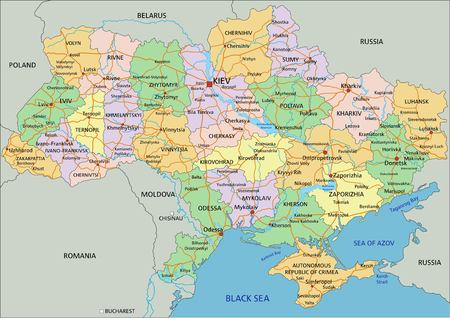 Ukraine - Highly detailed editable political map with labeling. Ilustracja