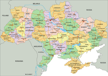 Ukraine - Highly detailed editable political map with labeling. Çizim