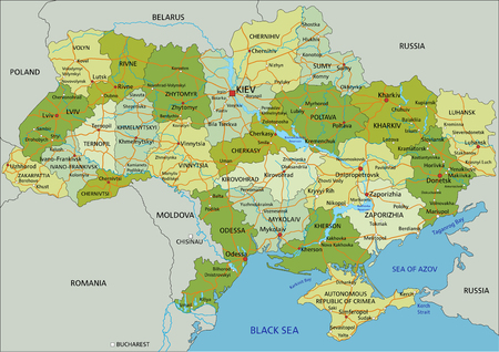 Carte politique modifiable très détaillée avec des couches séparées. Ukraine.