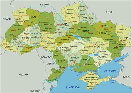 Mappa politica modificabile altamente dettagliata con livelli separati. Ucraina.