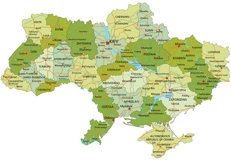 Highly detailed editable political map with separated layers.  Ukraine.