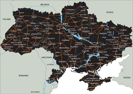 Carte routière de l'Ukraine très détaillée avec étiquetage.
