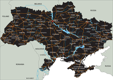 High detailed Ukraine road map with labeling.