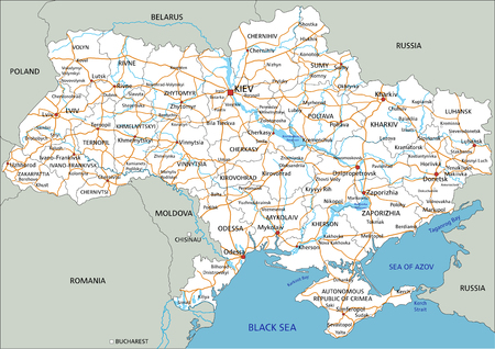 High detailed Ukraine road map with labeling. Foto de archivo - 122716515