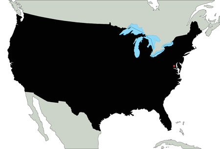Highly Detailed United States of America Silhouette map. Illustration