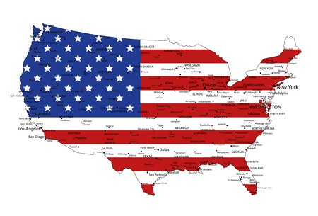 United States of America highly detailed political map with national flag.