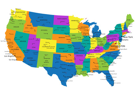 Colorful United States of America political map with clearly labeled, separated layers. Vector illustration. Ilustração