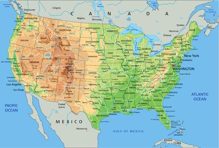 Hochdetaillierte physische Karte der Vereinigten Staaten von Amerika mit Beschriftung. Vektorgrafik