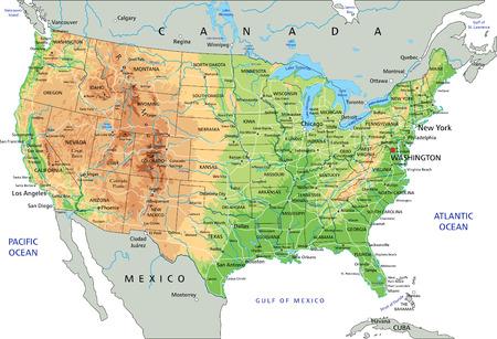 Hochdetaillierte physische Karte der Vereinigten Staaten von Amerika mit Beschriftung.