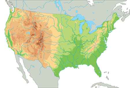 High detailed United States of America physical map. Foto de archivo - 122716522