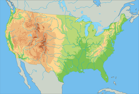 High detailed United States of America physical map. Foto de archivo - 122716525