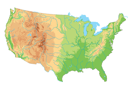 High detailed United States of America physical map. Foto de archivo - 122716527