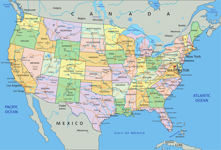United States of America - Highly detailed editable political map with labeling. Çizim