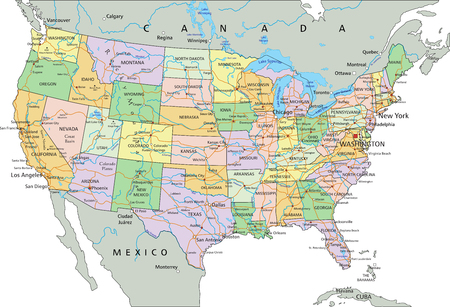 United States of America - Highly detailed editable political map with labeling. Ilustração