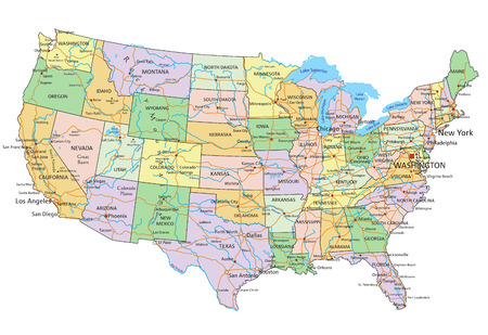 United States of America - Highly detailed editable political map with labeling. 矢量图像