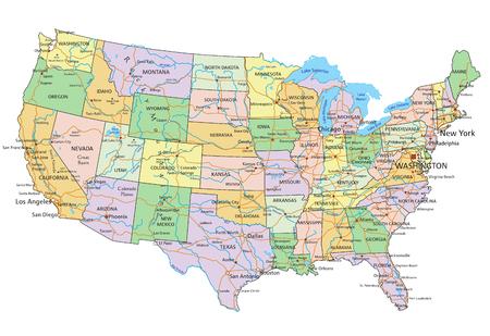 Vereinigte Staaten von Amerika - Sehr detaillierte bearbeitbare politische Karte mit Beschriftung.
