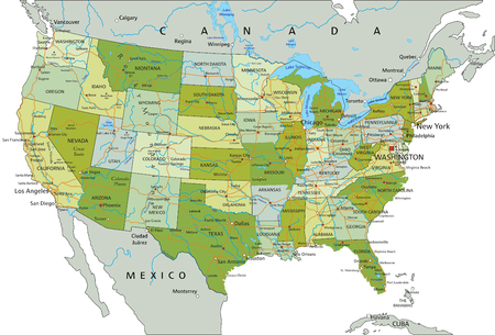 Highly detailed editable political map with separated layers. United States of America.