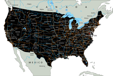 High detailed United States of America road map with labeling. Çizim