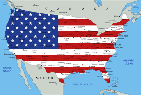 United States of America highly detailed political map with national flag. Foto de archivo - 122716535