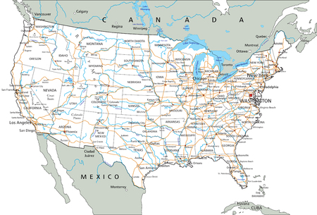 High detailed United States of America road map with labeling. Illustration