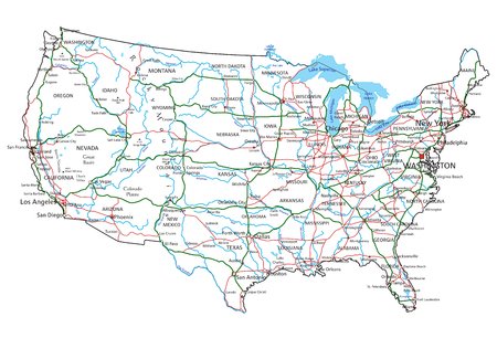 United States of America road and highway map. Vector illustration. Çizim