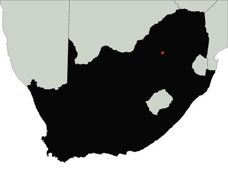 Carte très détaillée de la silhouette de l'Afrique du Sud.