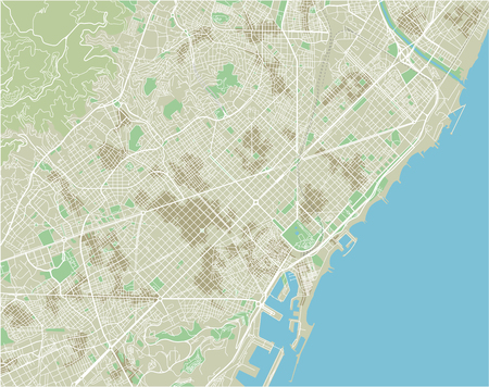 Vector city map of Barcelona with well organized separated layers. 스톡 콘텐츠 - 122638189