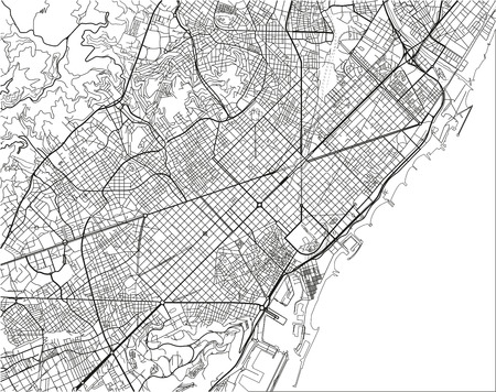 Black and white vector city map of Barcelona with well organized separated layers. Çizim