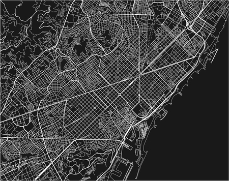 Black and white vector city map of Barcelona with well organized separated layers. Illustration