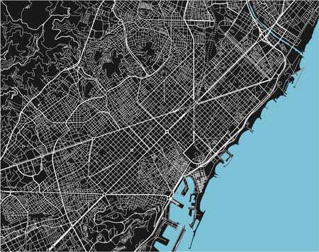 Black and white vector city map of Barcelona with well organized separated layers. 일러스트