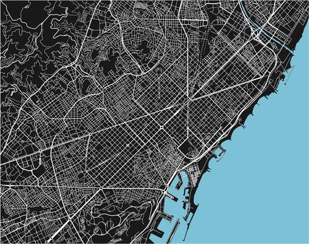 Mappa vettoriale in bianco e nero della città di Barcellona con strati separati ben organizzati.