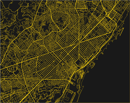 Black and yellow vector city map of Barcelona with well organized separated layers. Vettoriali
