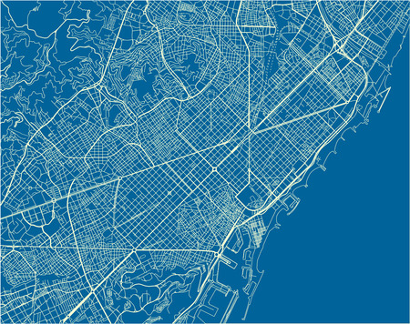 Blue and White vector city map of Barcelona with well organized separated layers. Çizim