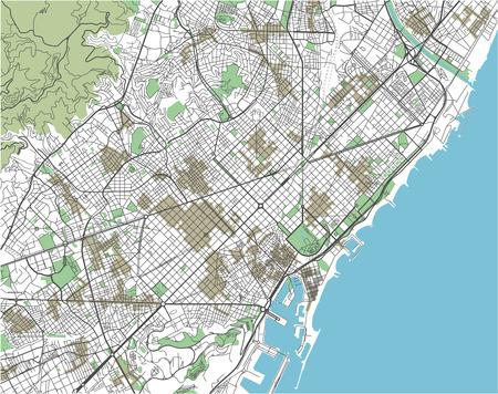 Mappa vettoriale colorata della città di Barcellona