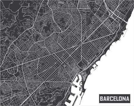 Design minimalista del manifesto della mappa della città di Barcellona.