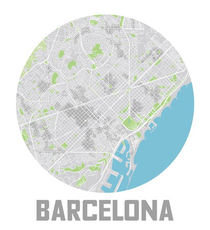 Minimalistic Barcelona city map icon.