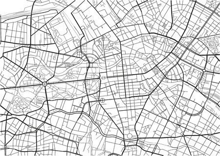 Black and white vector city map of Berlin with well organized separated layers.  イラスト・ベクター素材