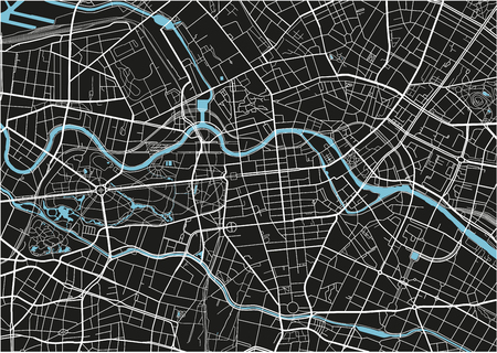 Black and white vector city map of Berlin with well organized separated layers. Illustration