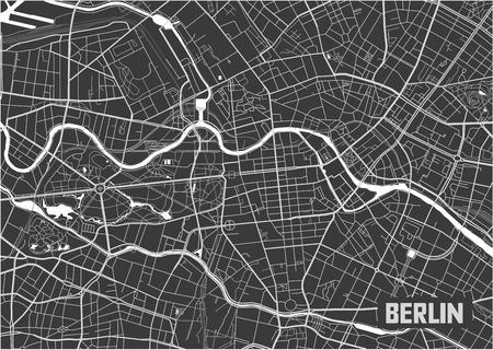 Conception d'affiche de carte de ville de Berlin minimaliste.