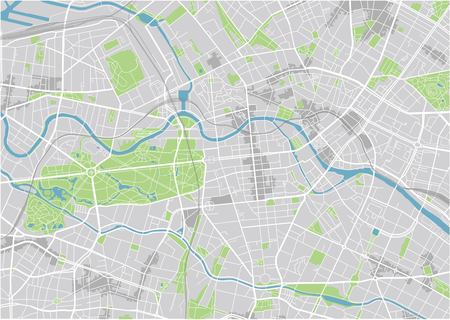 Vector city map of Berlin with well organized separated layers. Ilustração