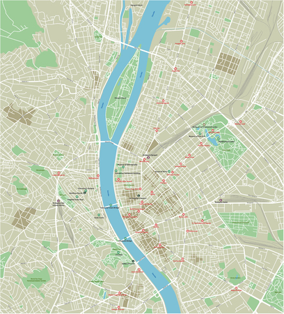 Vector city map of Budapest with well organized separated layers. Illustration