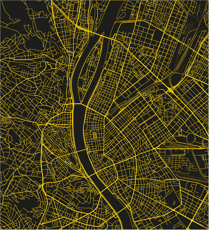 Black and yellow vector city map of Budapest with well organized separated layers.
