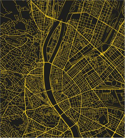 Schwarz-gelber Vektorstadtplan von Budapest mit gut organisierten getrennten Schichten. Vektorgrafik