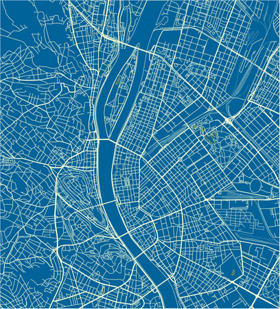 Blue and White vector city map of Budapest with well organized separated layers.