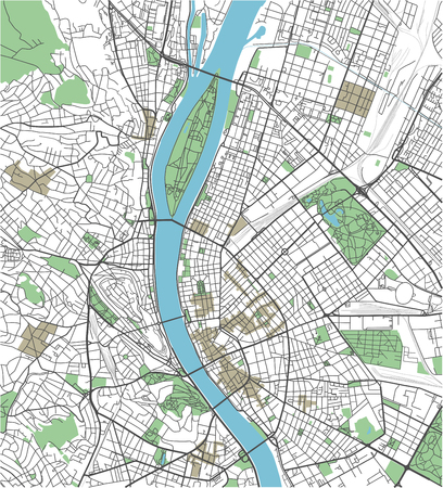 Colorful Budapest vector city map Иллюстрация