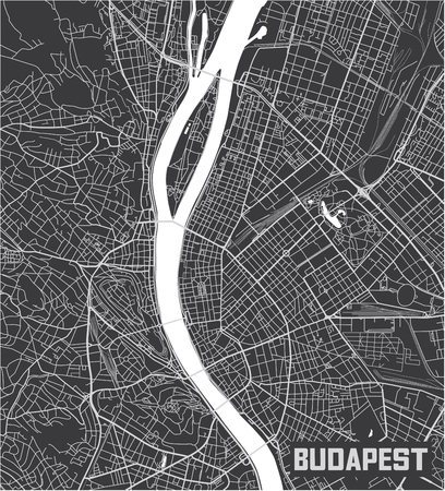 Minimalistic Budapest city map poster design. 일러스트