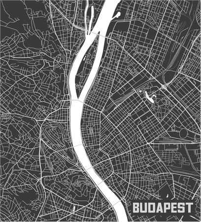 Minimalistic Budapest city map poster design. 向量圖像